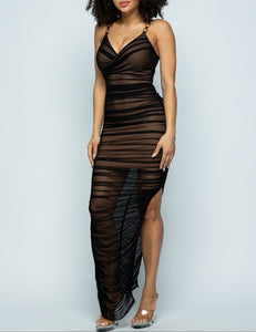 Gold Chain Ruched Dress
