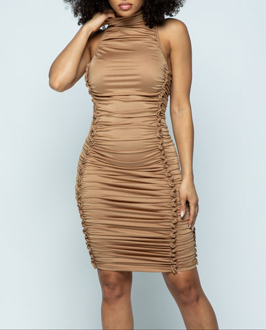 Mocha Ruched Dress