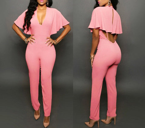Hollow V-Neck Jumpsuit - MW Fashion Apparel