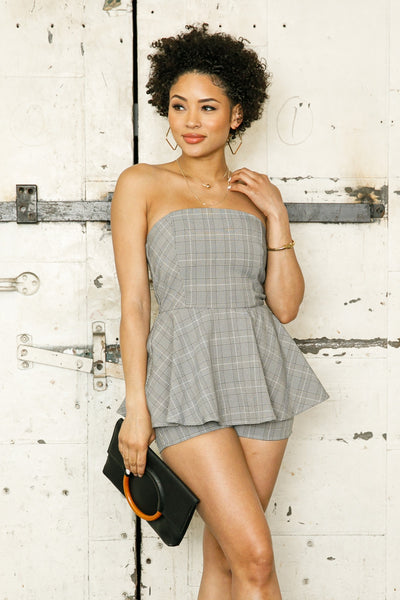 Tube Plaid Romper