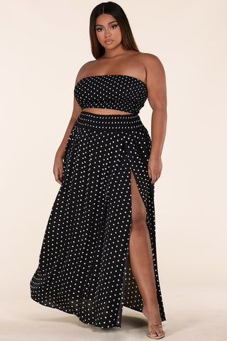 Polka Dot Print Skirt Set