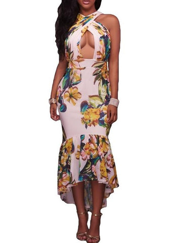 Cross Neck Keyhole Dress - MW Fashion Apparel
