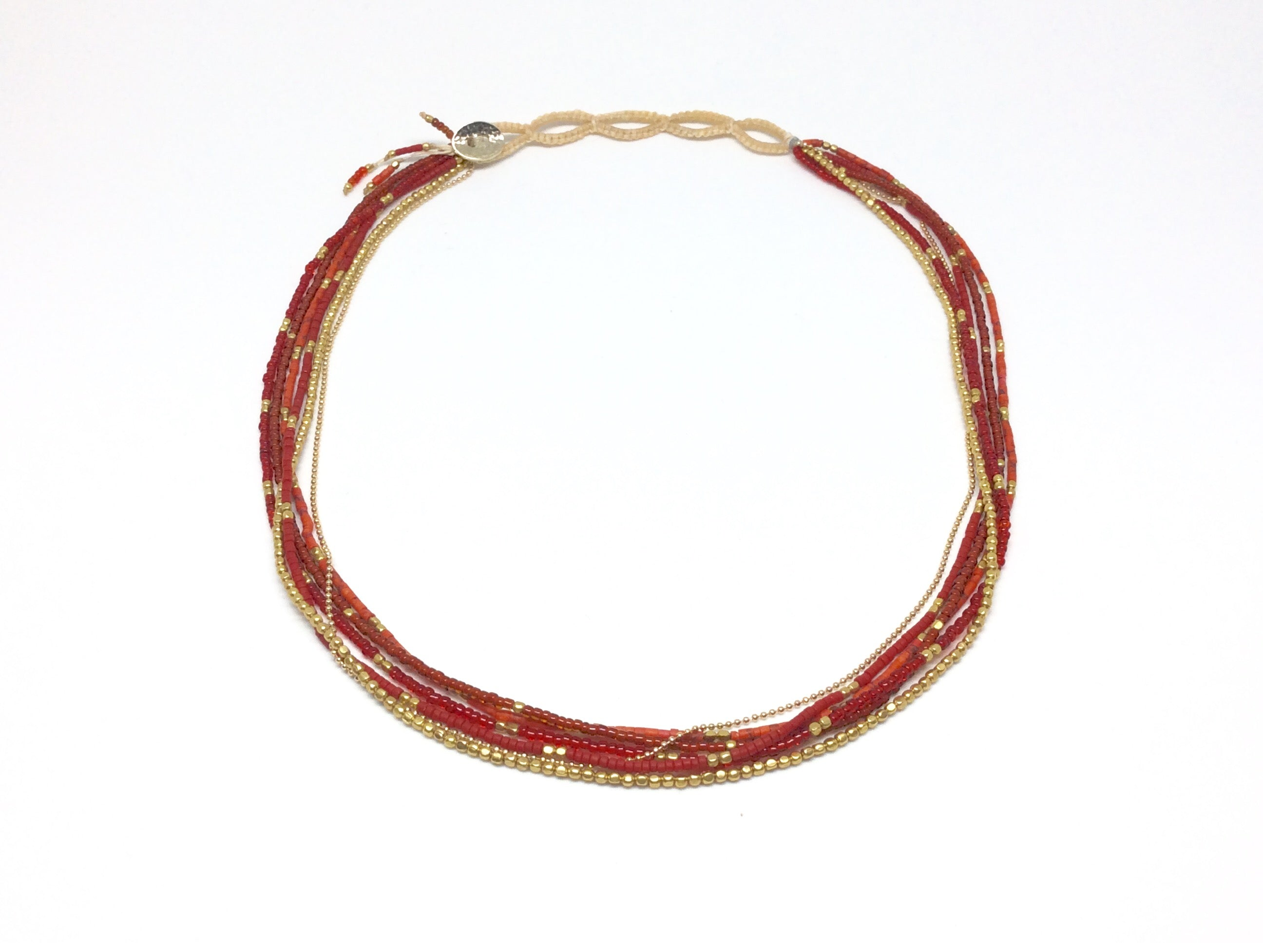 FIRE Beads and Brass Linen Wrap Bracelet