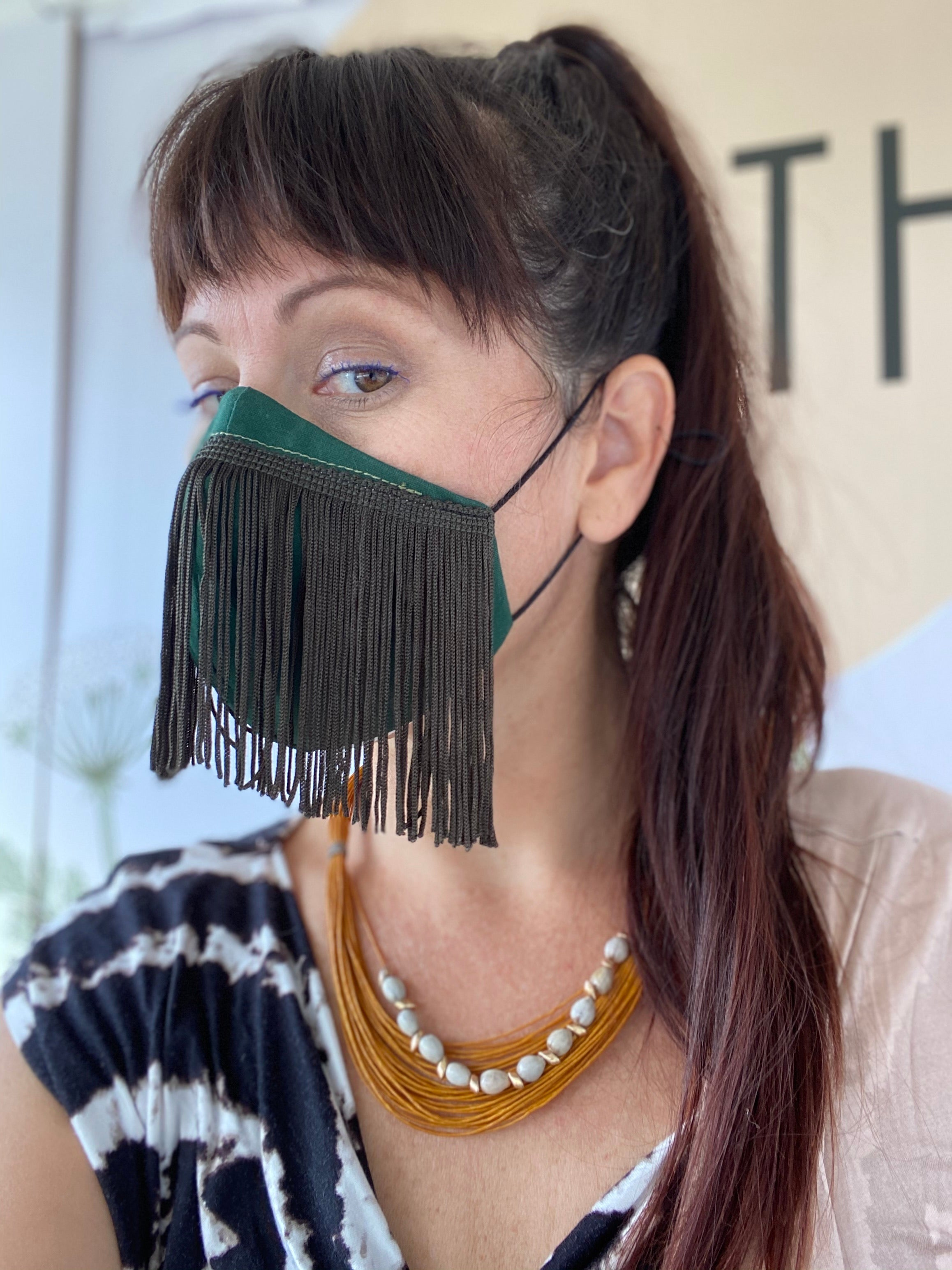 Green Fringe Non Medical Face Mask