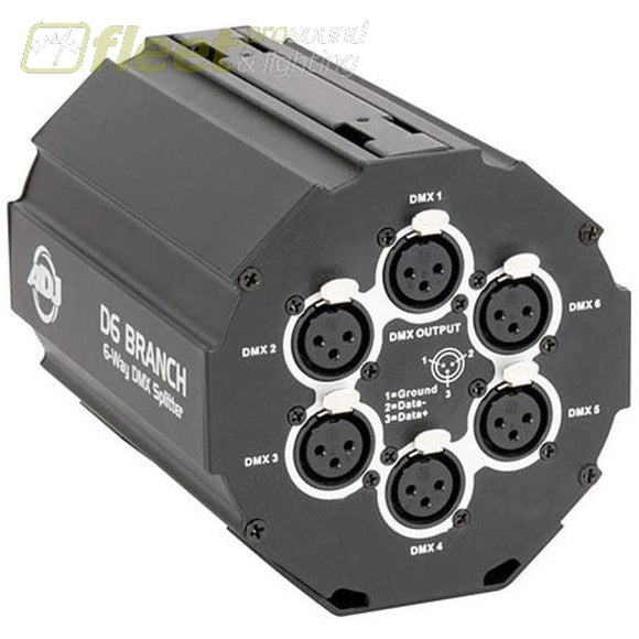 American DJ D6-BRANCH 6 Way 3 Pin DMX Splitter/Amp with Velcro & Clamp Mount DMX DISTRIBUTION