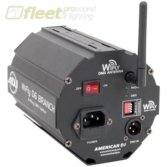 American Dj Wifly D6 Branch - 6-Way Wireless Dmx Splitter W/built-In Wifly Transceiver Dmx Distribution