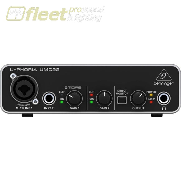 Behringer Umc22 U-Phoria Usb Interface Audio Interfaces