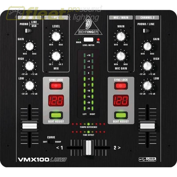 Behringer Vmx100 Usb 2-Channel Dj Mixer With Usbinterface Bpm Counter And Vca Control Dj Mixers