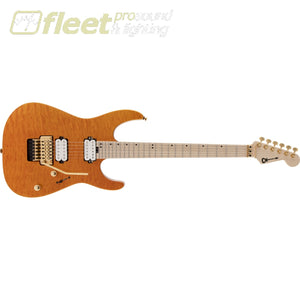Charvel Pro-Mod DK24 HH FR M Mahogany with Quilt Maple Maple Fingerboard Guitar - Dark Amber (2969431558) LOCKING TREMELO GUITARS