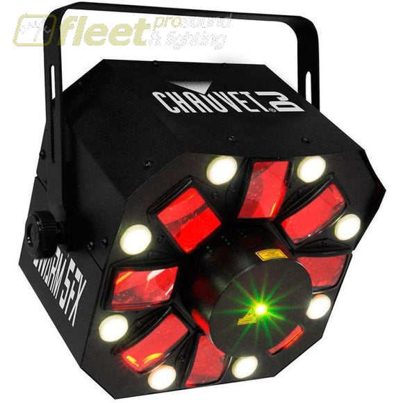 Chauvet SWARM5 FX withred and green lasers White Strobe Effects and RGBAW Rotating Derby Effects LED DJ EFFECTS