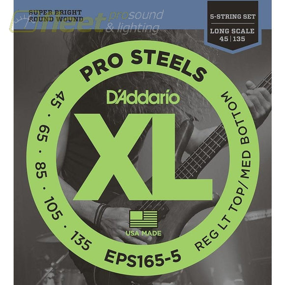 Daddario Eps165-5 Prosteels 5-String Bass Custom Light 45-135 Long Scale Bass Strings