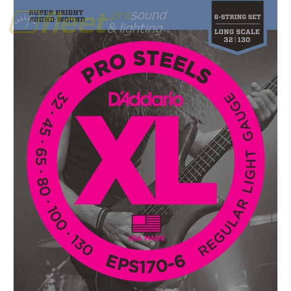 Daddario Eps170-6 Prosteels 6-String Bass Light 32-130 Long Scale Bass Strings