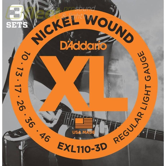 Daddario Exl110-3D Nickel Wound Electric Guitar Strings Regular Light 10-46 3 Sets Guitar Strings