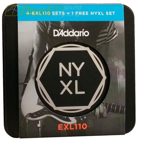 Daddario Exl110-Tin Electric Guitar Strings Set Regular Light 10-46 *4 Sets + 1 Nxyl And Collectors Tin Guitar Strings