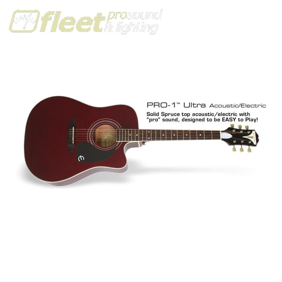 Epiphone Eepuwrch Pro 1 Ultra - Acoustic Cutaway Guitar - Wine Red 6 String Acoustic With Electronics