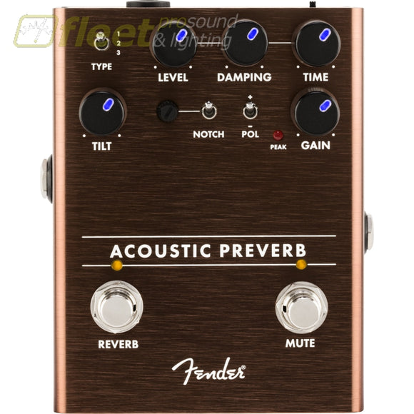 Fender 0234548000 Acoustic Preverb Preamp Pedal with Reverb ACOUSTIC GUITAR PREAMPS