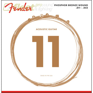 Fender Phosphor Bronze Acoustic Guitar Strings Ball End 60CL.011-.052 Gauges (6) (0730060405) GUITAR STRINGS