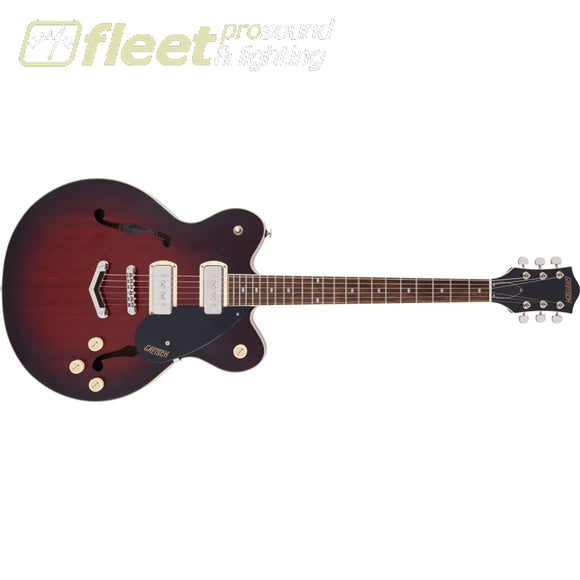 Grestch G2622-P90 Streamliner Center Block Double-Cut P90 with V-Stoptail Laurel Fingerboard Guitar - Claret Burst (2817600561) HOLLOW BODY