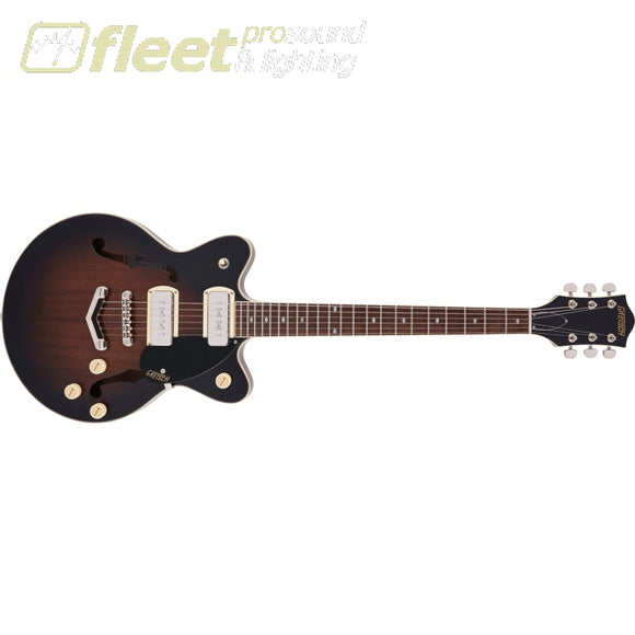 Grestch G2655-P90 Streamliner Center Block Jr. Double-Cut P90 with V-Stoptail Laurel Fingerboard Guitar - Brownstone (2817800588) HOLLOW