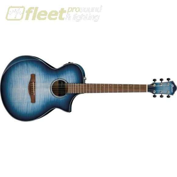 Ibanez Aewc400-Ibb Acoustic Guitar In Trans Indigo Blue Burst 6 String Acoustic With Electronics
