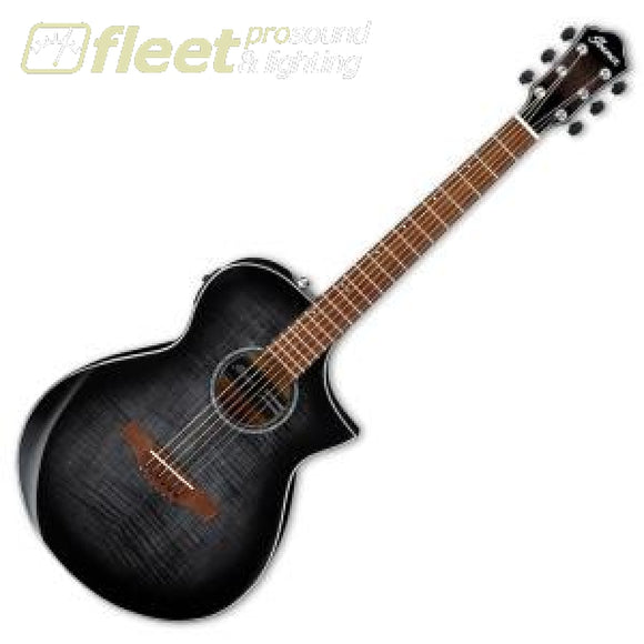Ibanez Aewc400-Tks Acoustic Guitar Comfort Body Flame Maple -Trans Blk. Sunburst High Gloss 6 String Acoustic With Electronics