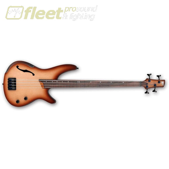 Ibanez Srh500F-Nnf Sr Bass Workshop 4 String Rh Semi-Hollow Electric Bass (Natural Brown Burst Flat) Fretless Basses