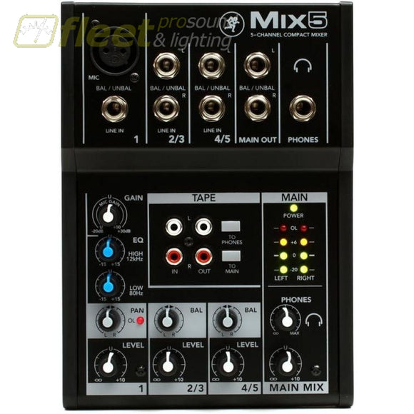 Mackie Mix5 Compact Mixer 5 Ch Mixers Under 24 Channel