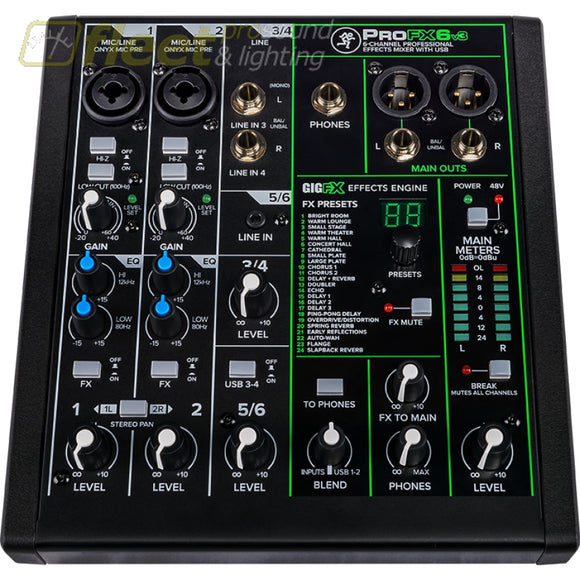 Mackie PROFX6V3 Professional Effects Mixer with USB MIXERS UNDER 24 CHANNEL