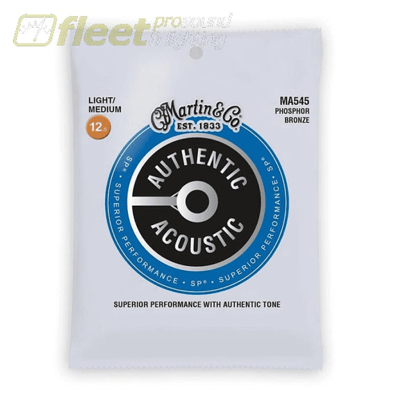 Martin & Co MA545 Authentic Phosphor Bronze 92/8 Acoustic Guitar Strings - 12.5-55- Light Medium GUITAR STRINGS