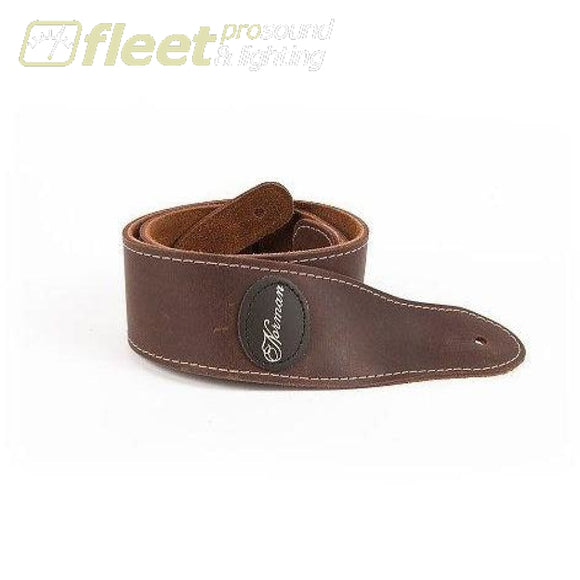 Norman 037117 Leather Strap With Patch Logo Mat Brown Straps