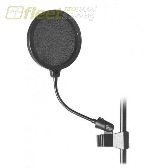 Onstage ASVS6-B Black 6 Inch Pop Blocker w/ 6 Inch Gooseneck & Clamp POP FILTERS