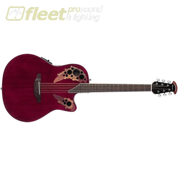 Ovation CE48 Celebrity Elite Acoustic-Electric Guitar Transparent Ruby Red 6 STRING ACOUSTIC WITH ELECTRONICS