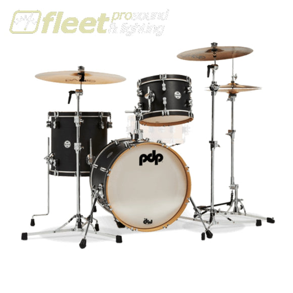 Pdp Concept Maple Classic Bop Kit - Ebony Stain With Ebony Hoops Acoustic Drum Kits