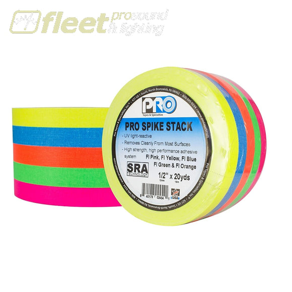 Pro Tape SPIKE-STACK-FL 5 Colurs 1/2 x 20 Yards - Flourscent Colours GAFFER TAPES