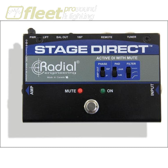 Radial STAGEDIRECT Active DI with Footswitch and Tuner Out DI BOXES