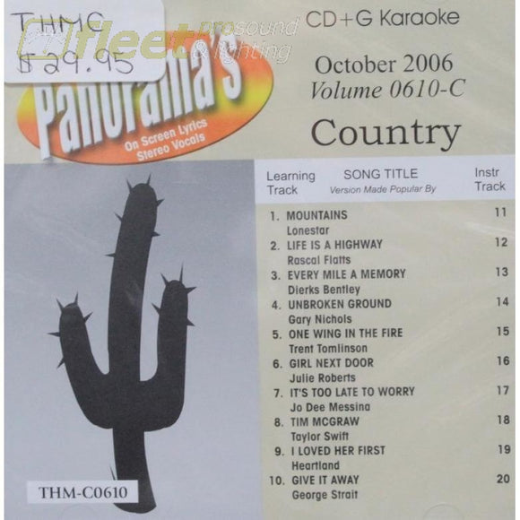 Top Hits Monthly Country Thmc0610 October 2006 Karaoke Discs