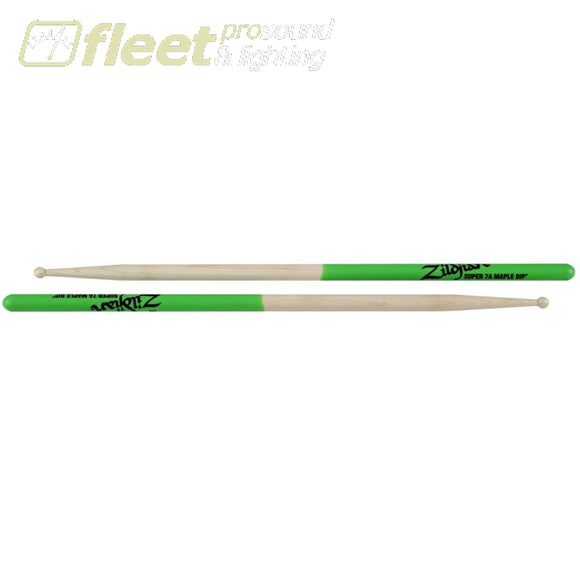 Zildjian S7Amg 7A Green Dip Drum Sticks Sticks