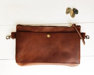 The Basic Hip Bag in Brown with Front Snap Pocket