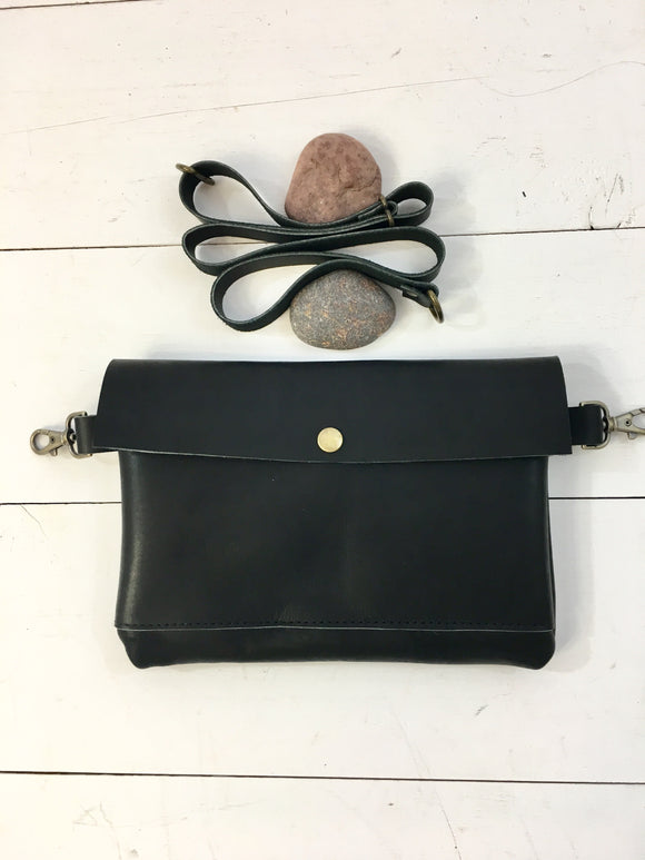Simple black hip bag