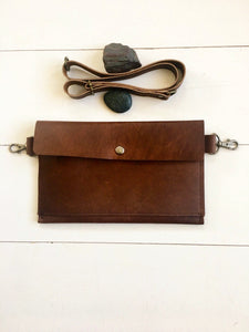 Hip Bag in Brown with Front Pocket and Snap