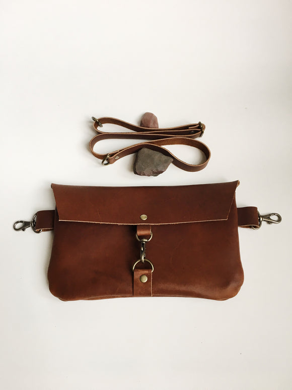 Hip Bag in Brown with Snap Hook
