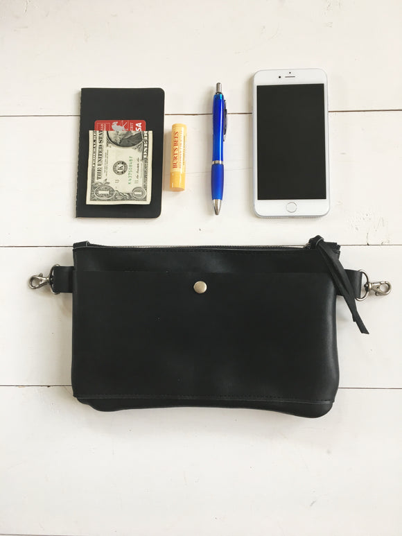 Hip Bag in Black with Front Snap Pocket