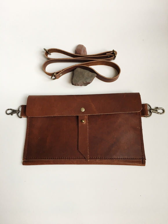 Classic Hip Bag in Brown with Front Pocket