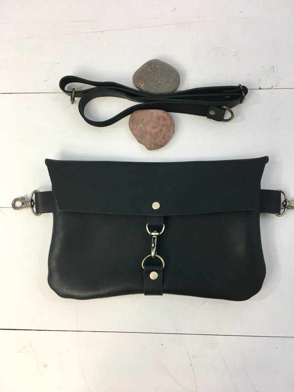 Black snap hook hip bag