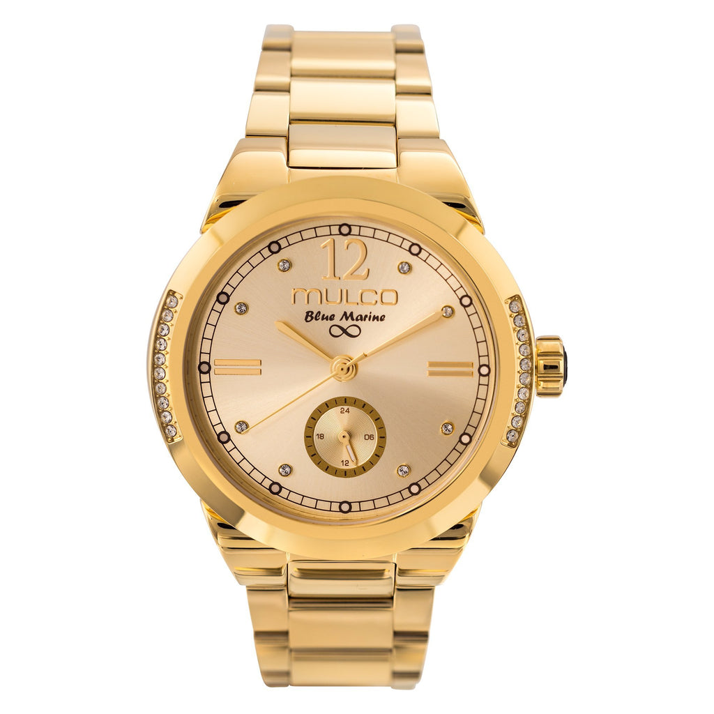 Womens Watches | Gold Stainless Steel Band | Rose Gold accents| Water Resistant