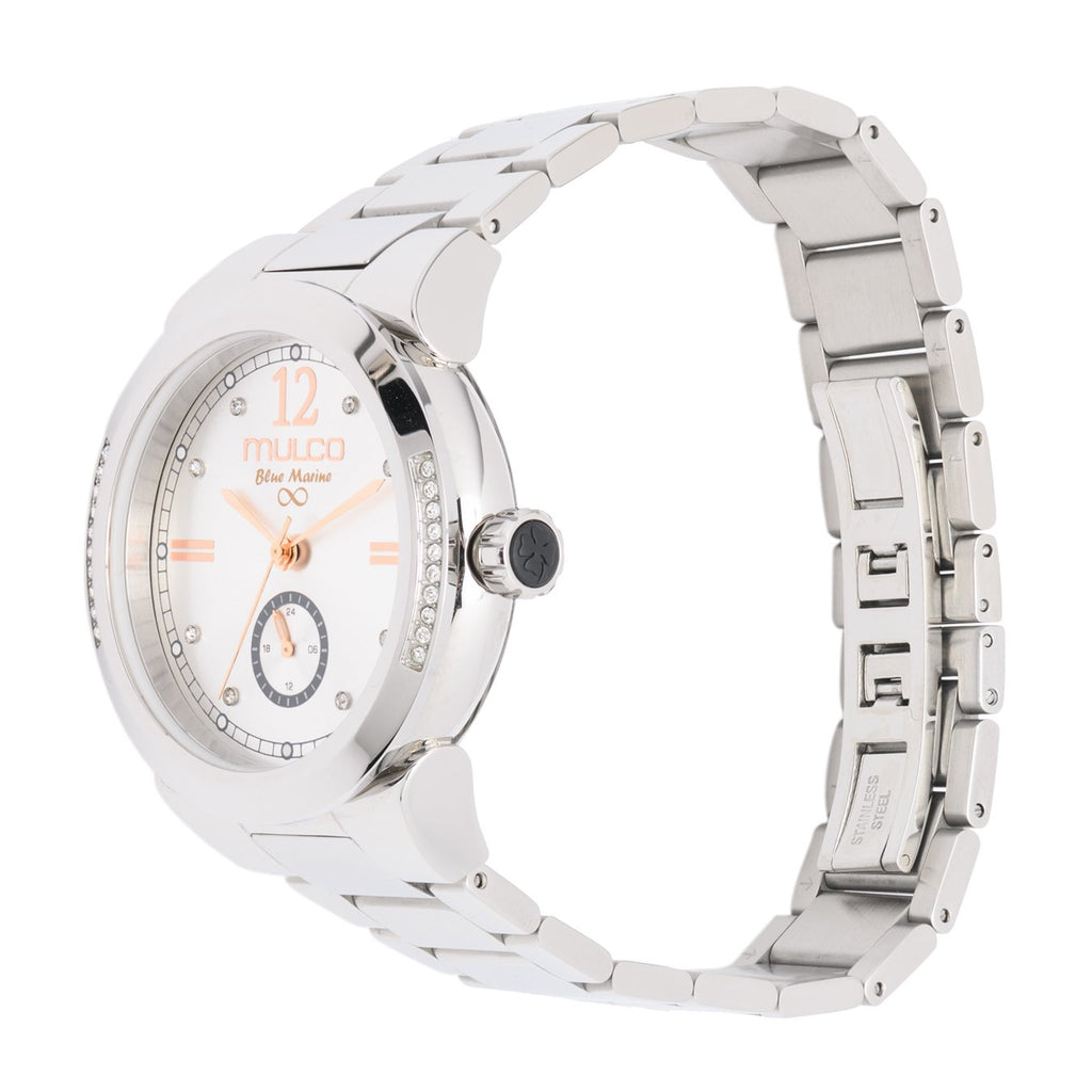 Womens Watches | Mulco Blue Marine Metal | Swarovski | SilverAndRoseGoldReverse