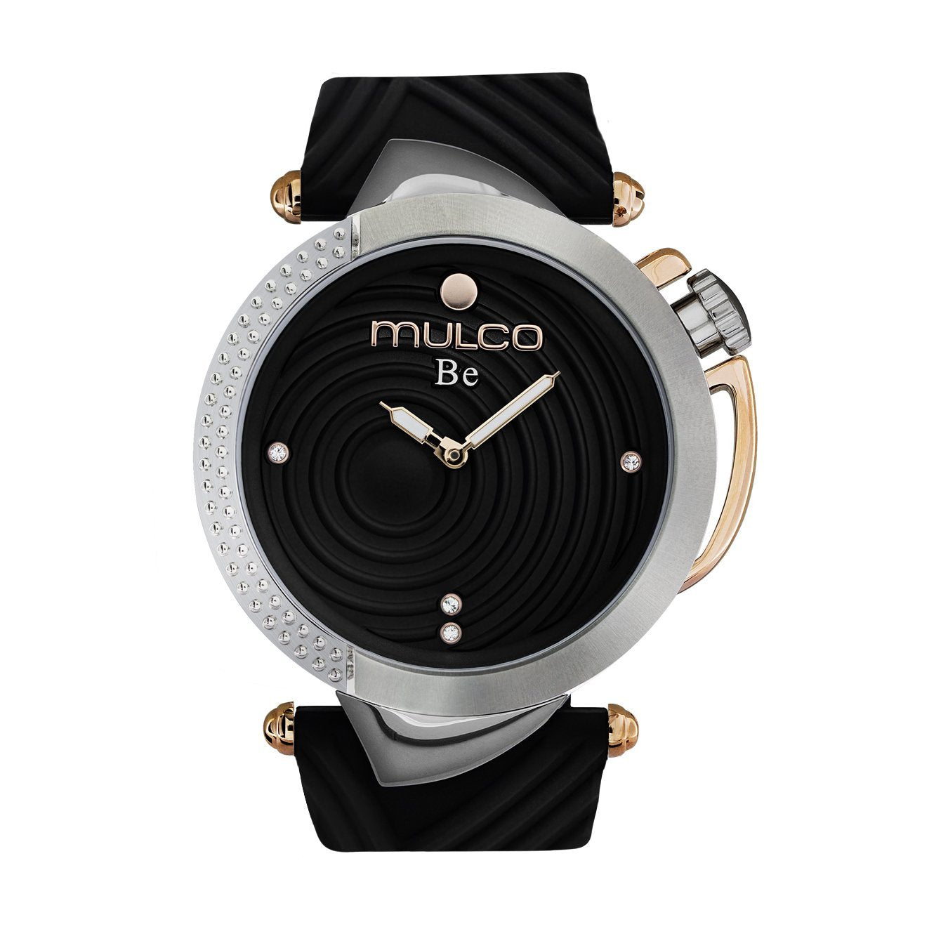 Ladies Watches | Black Silicone Band | Rose Gold accents | Water Resistant