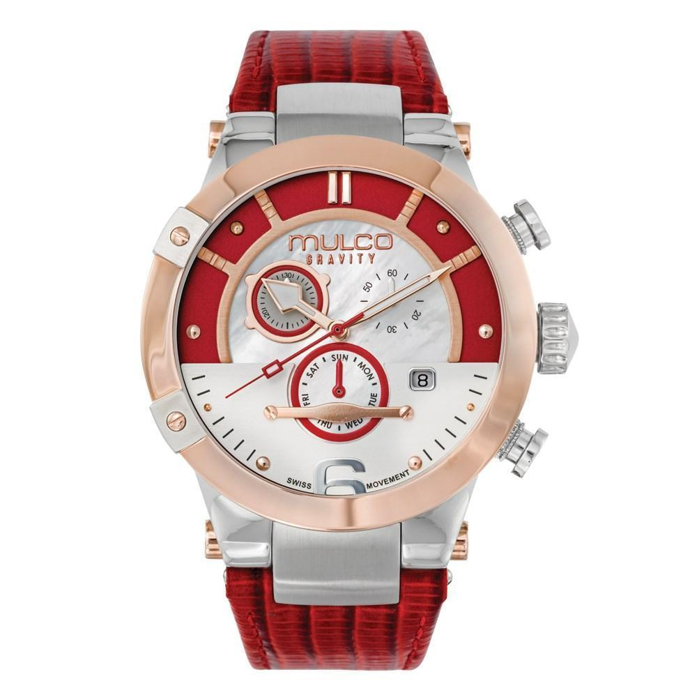 Womens Watches | Red Leather Band | Rose Gold accents | Water Resistant