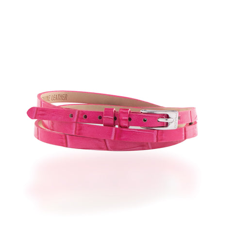 Leather Wrap Bracelet B - Pink