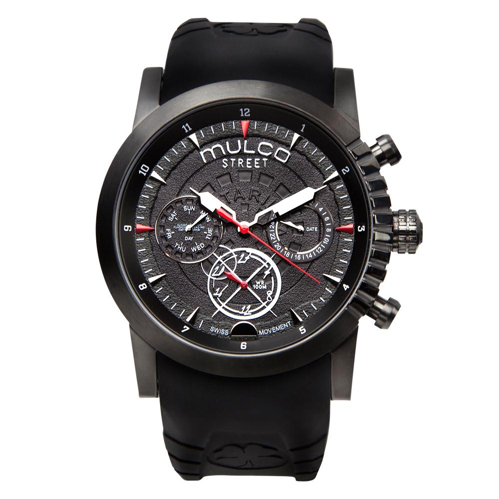 Men Watches | Black Silicone Band | Steel accents | Water Resistant